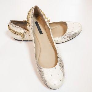 Rachel Zoe Laura Ballet Flats Cream Snakeskin